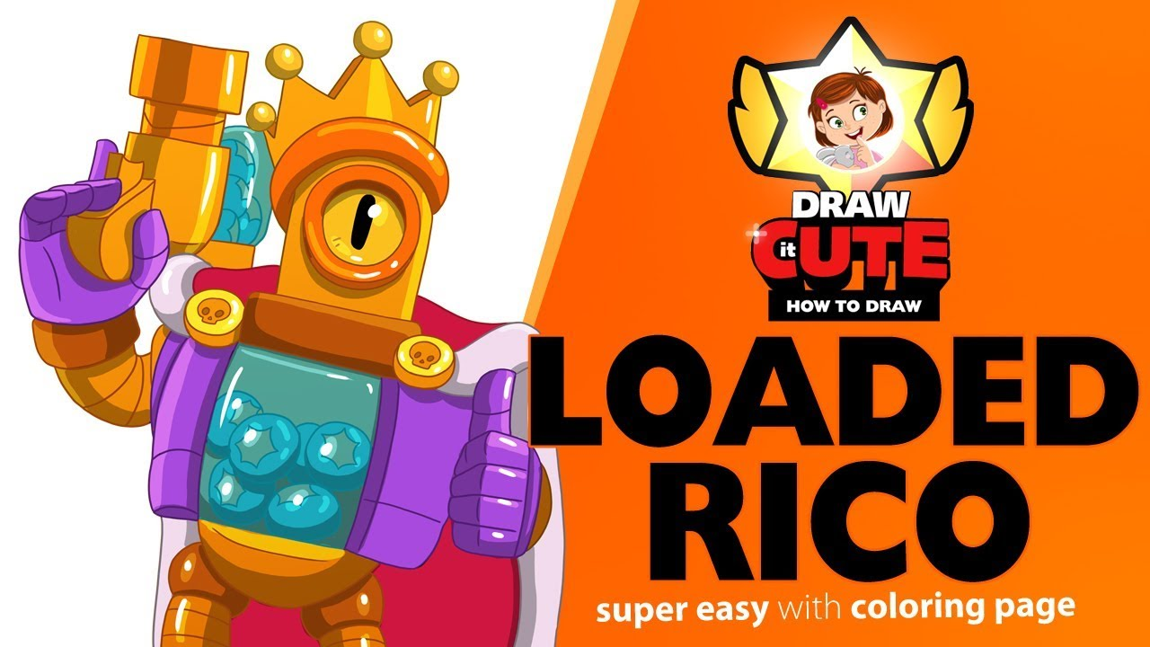 How To Draw Loaded Rico Brawl Stars Super Easy Drawing Tutorial With Coloring Page