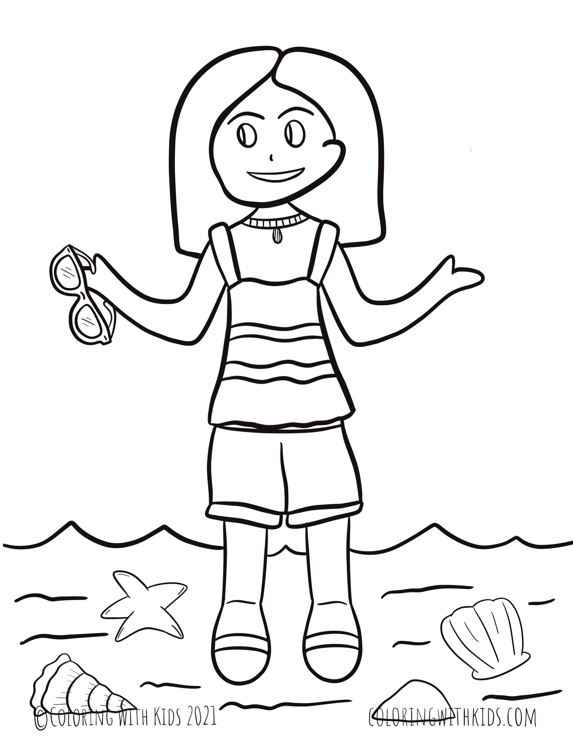 Summer Girl Coloring Page Coloring