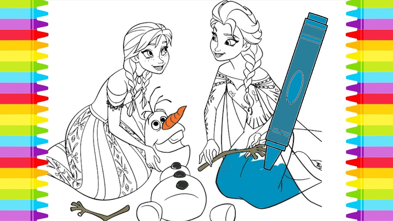 Disney Frozen Elsa And Anna Coloring Pages For Kids Learning Colors
