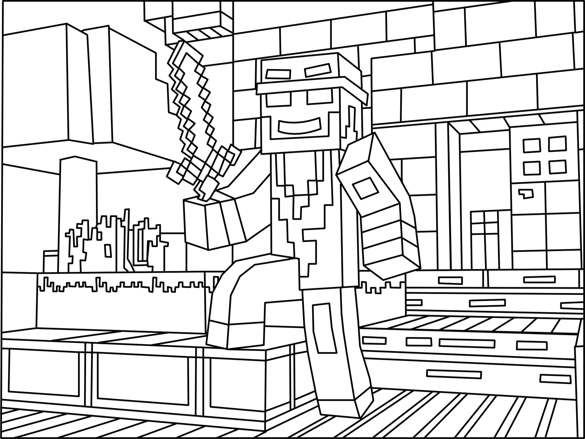 Minecraft Pixel Art Coloring Pages