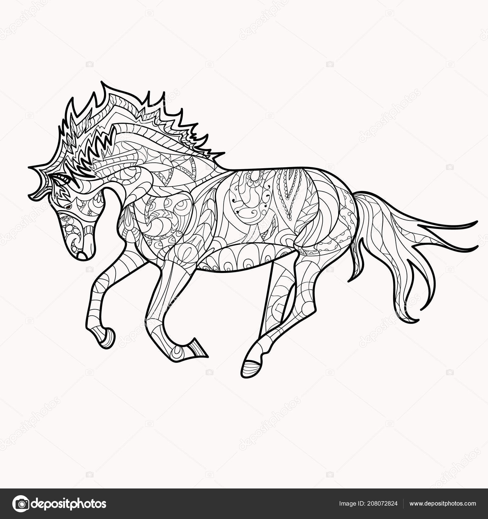 Https Cz Depositphotos Com 208072824 Stock Illustration Horse Coloring Book Page Simple Html