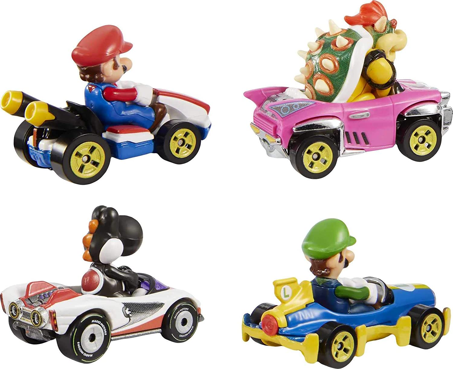 Hot Wheels Mario Kart Characters And Karts As Die Cast Toy Cars 4 Pack Amazon Exclusive