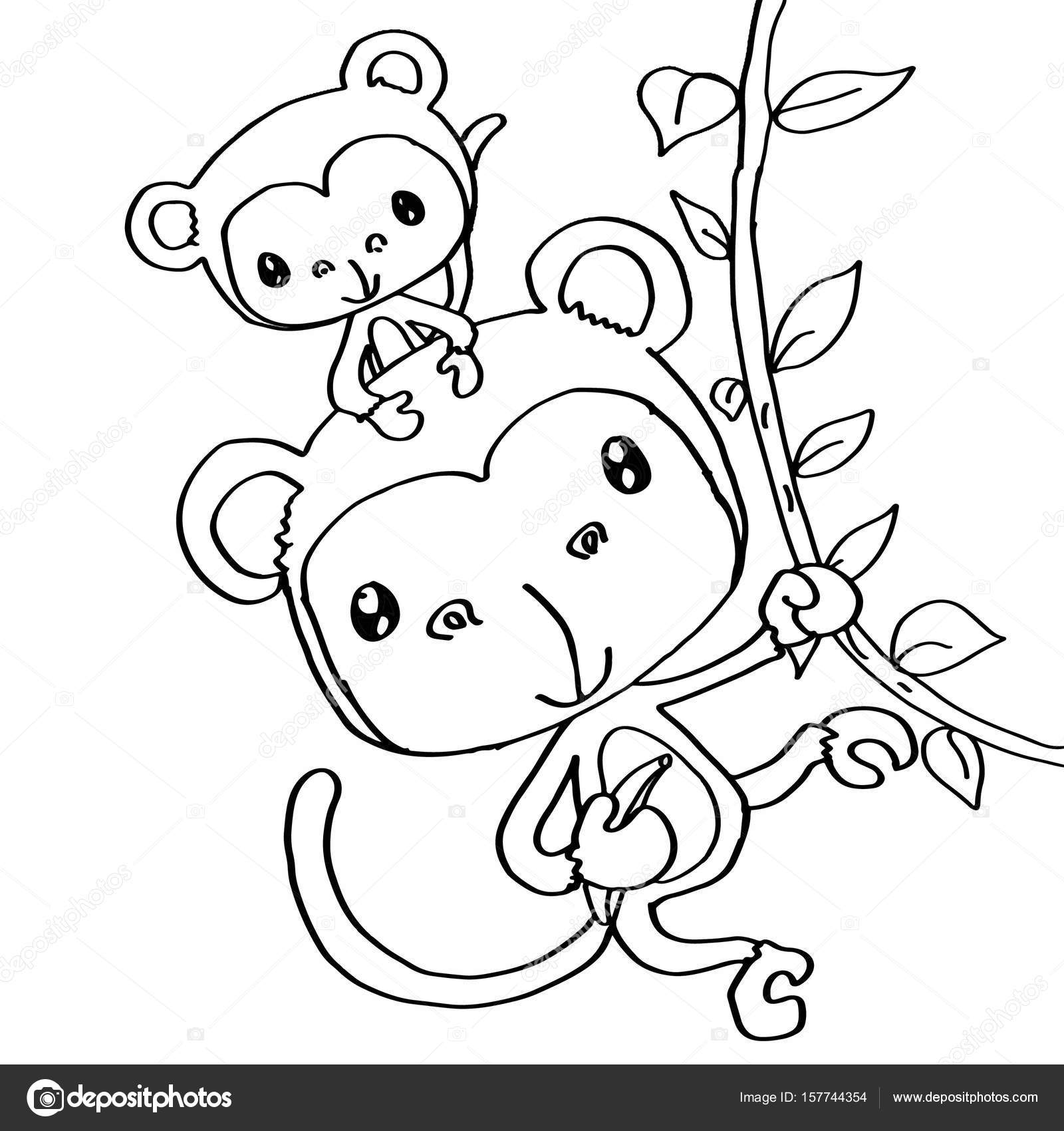 Https Cz Depositphotos Com 157744354 Stock Photo Mother Monkey And Baby Coloring Html