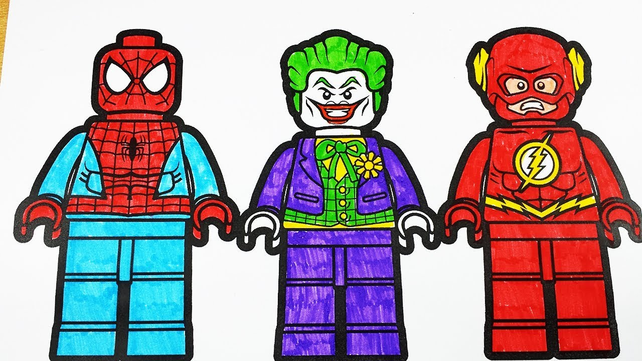 Coloring Pages Lego Spiderman Joker Flash Lego Coloring Videos Superheroes Coloring Book 2018