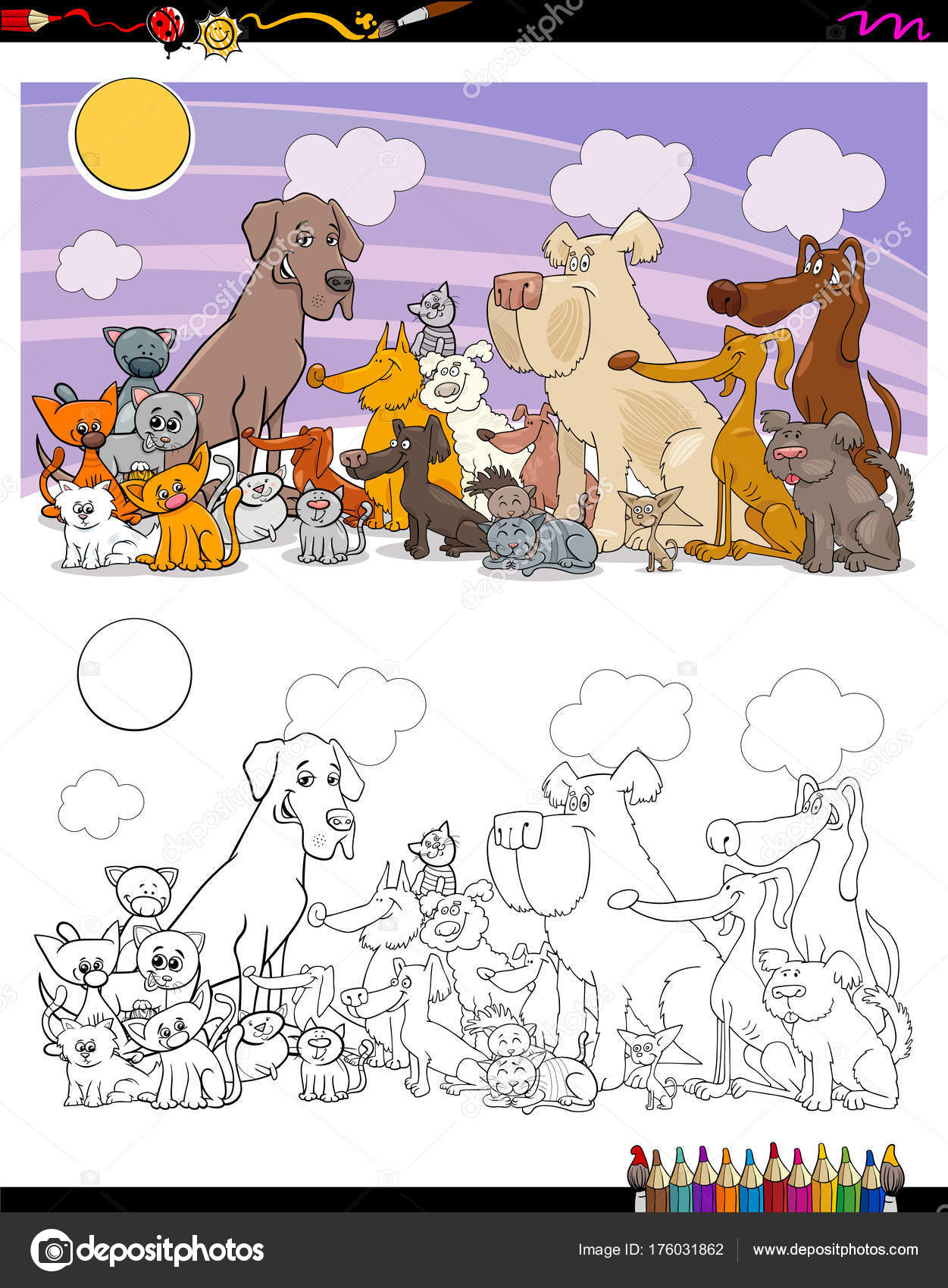 Https Cz Depositphotos Com 176031862 Stock Illustration Cats And Dogs Characters Coloring Html