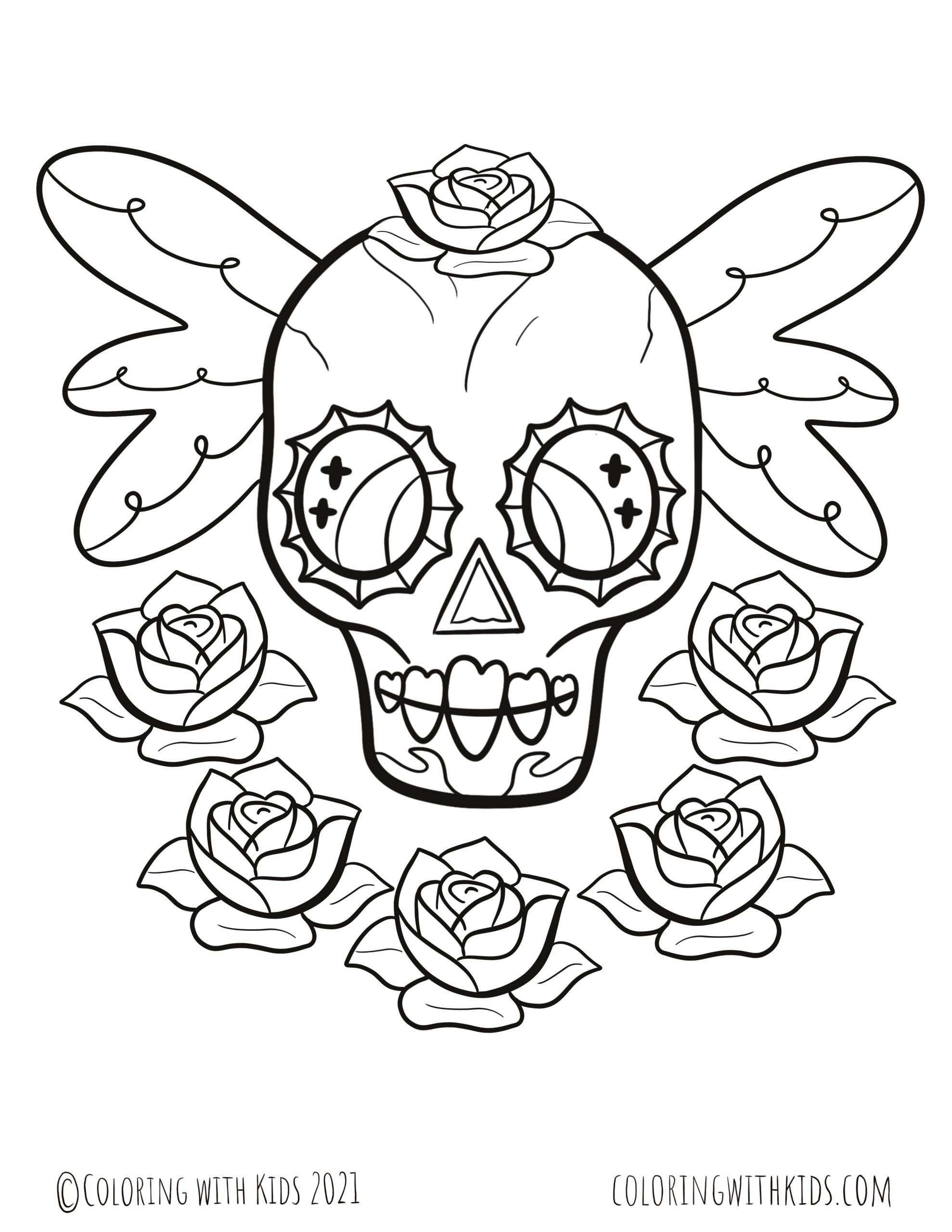 Rose And Skull Coloring Pages