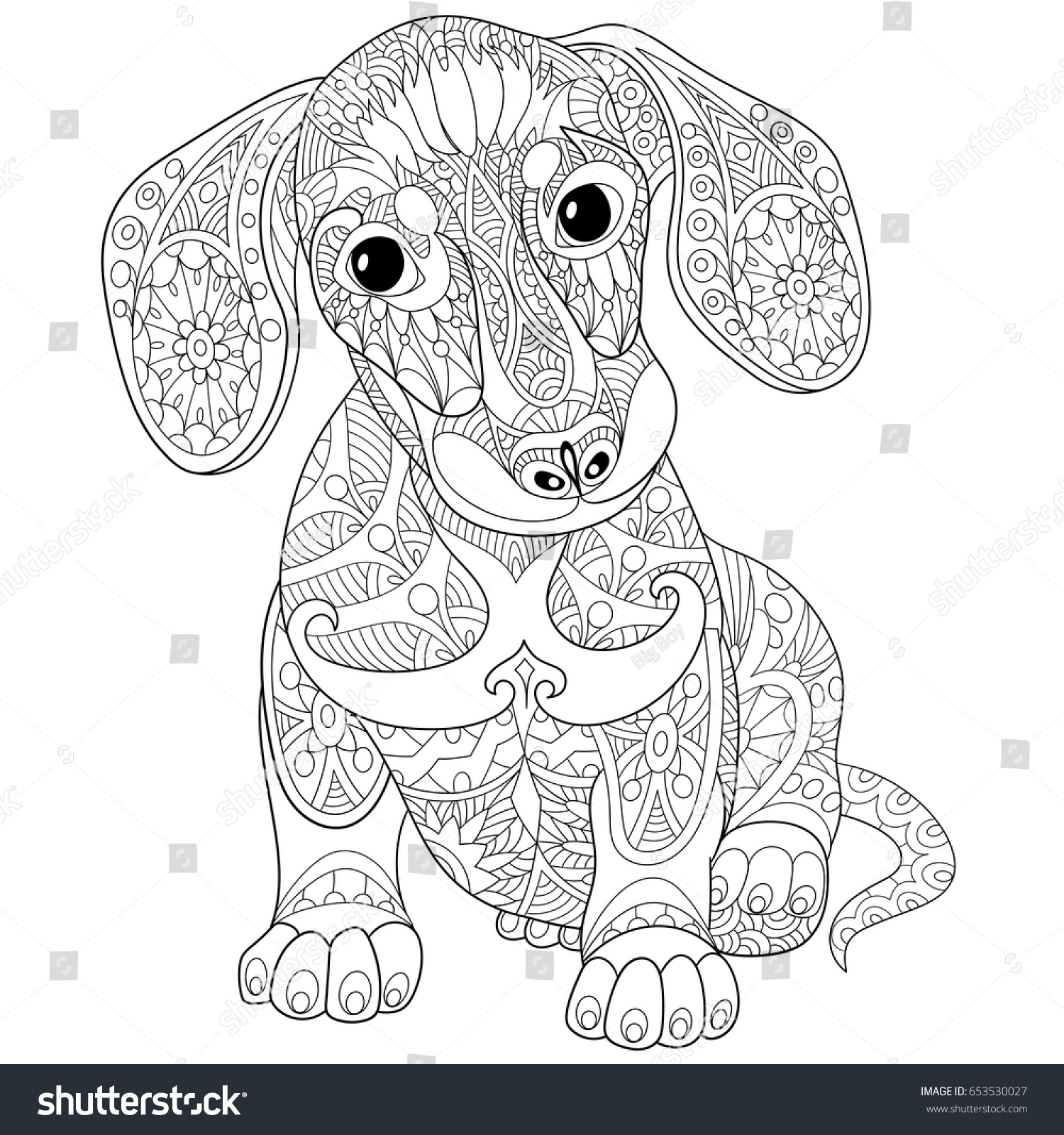 Https Www Shutterstock Com Cs Image Vector Coloring Page Dachshund Puppy Dog Symbol 653530027