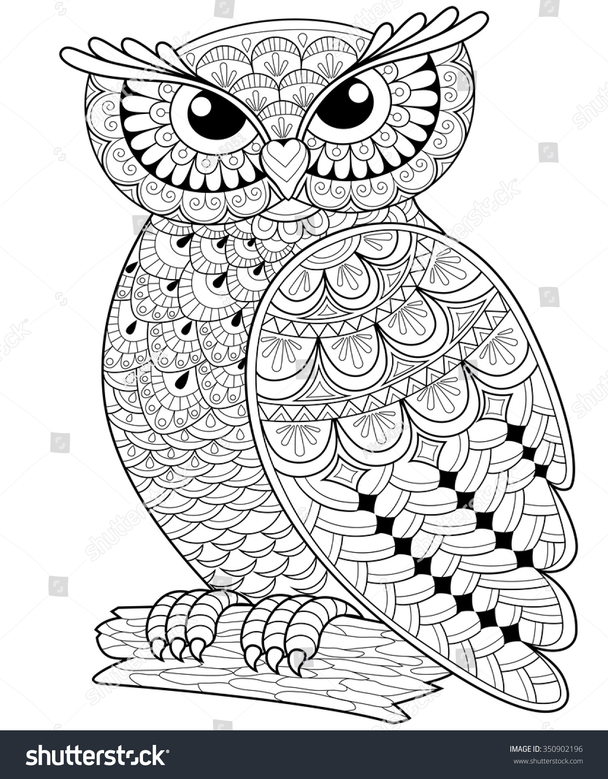 Https Www Shutterstock Com Cs Image Vector Decorative Owl Adult Antistress Coloring Page 350902196