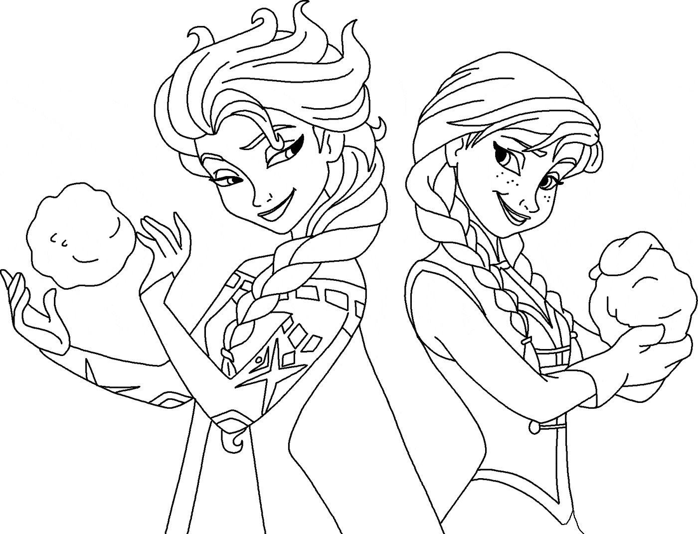 Elsa And Anna Frozen Colouring Pages