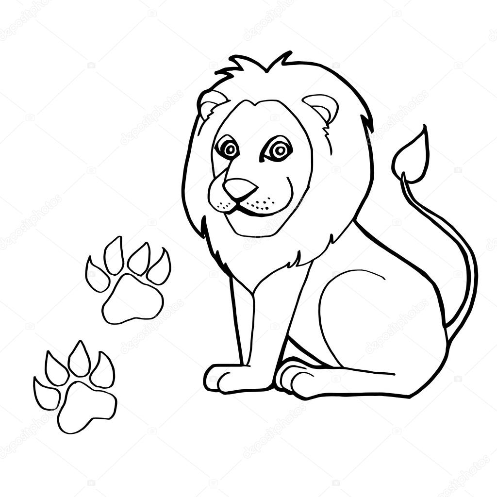 Https Cz Depositphotos Com 85357662 Stock Illustration Paw Print With Lions Coloring Html