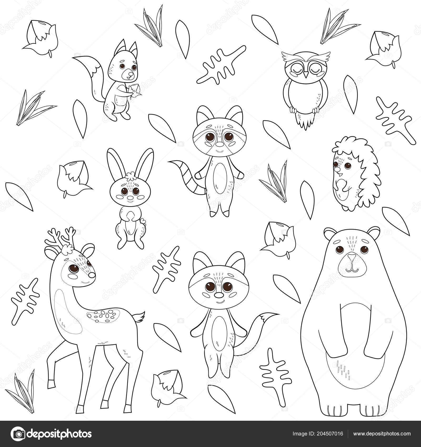 Https Cz Depositphotos Com 204507016 Stock Illustration Coloring Book With Cute Forest Html